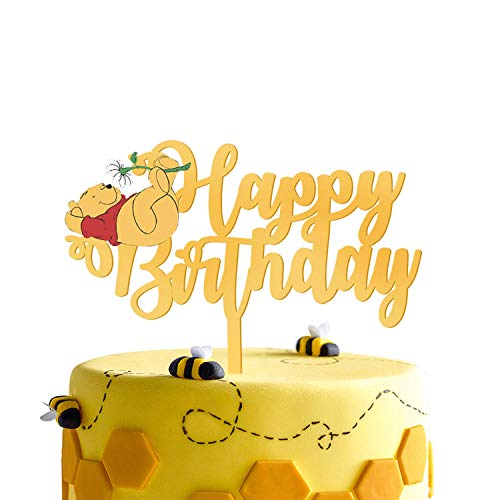Gold Acrylic Winnie Happy Birthday Cake Topper Winnie the Pooh Theme Birthday Party Suppliers Disney Cartoon Figures Decoration