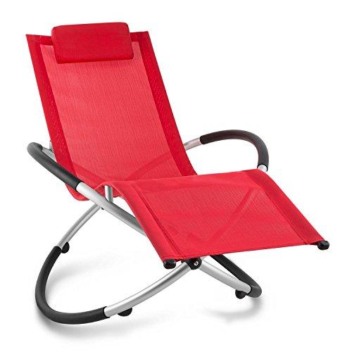 blumfeldt Chilly Billy ergonomische Gartenliege Liegestuhl Gartenstuhl Klappstuhl (Liege, 120 kg maximale Belastung, atmungsaktiv, witterungsbeständig, pflegeleicht, faltbar) rot