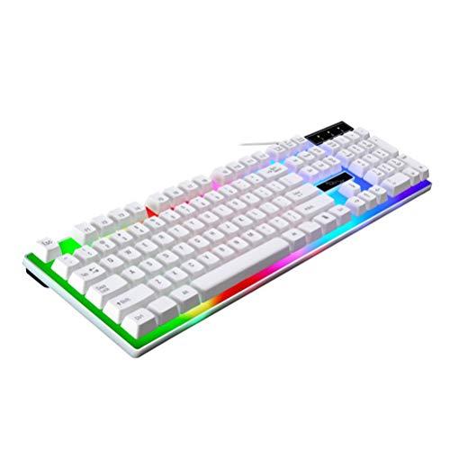 Solustre Tastiera da gioco cablata RGB arcobaleno retroilluminata Tastiera USB compatta con sensazione meccanica per ufficio di computer gamer (bianco)