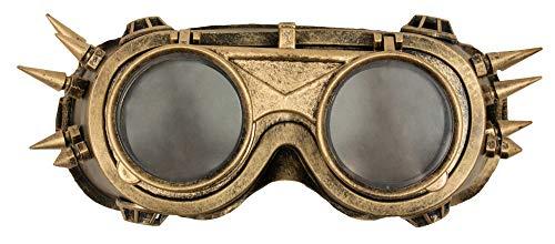 Das Kostümland Steampunk Fliegerbrille mit Dornen - Gold - Brille Erfinder Zeitreisender Kostüm Goggles Cyberpunk Schweißerbrille