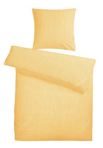 Carpe Sonno Kühle super softe Seersucker Bettwäsche Gelb Weiß Streifen 135 x 200 cm - Leichte Bettbezüge gestreift aus 100% gekämmter Baumwolle für den Sommer - Moderne Bettwaren-Garnitur