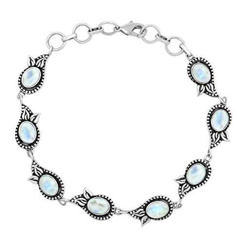 MIRRAMOR Natural Moonstone Bracelet 925 Silver Overlay Handmade Vintage Bohemian Style Jewelry for Women Mom Wife