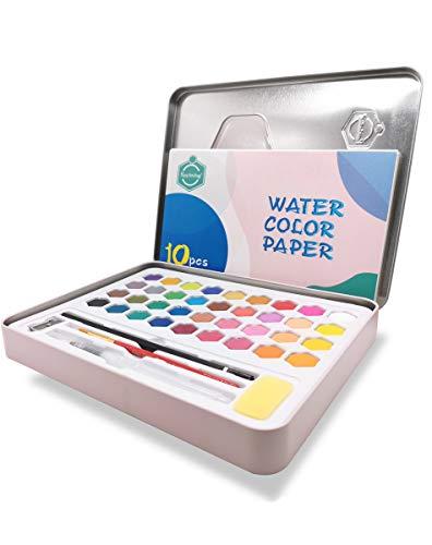 千桜 水彩絵具セット 36色 固体 高品質色粒子 高い彩度 絵の具セット 鉄ボックス付き (ピンク)