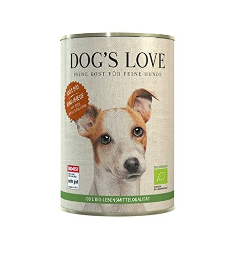 DOG'S LOVE BIO Premium Hundefutter Nassfutter Rind mit Reis, Apfel & Zucchini (6 x 400g)