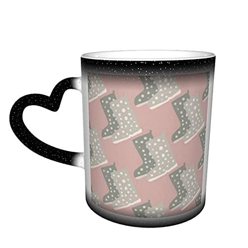 Grijze laarzen Silhouetten Naadloze Patroon Licht Koffie Mokken Keramische Cup Gepersonaliseerde Geschenken voor Familie Liefhebbers Vrienden