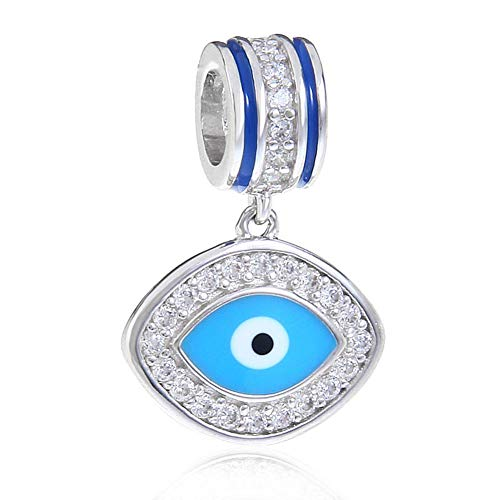 Abalorio de plata de ley 925 con diseño de ángel y mal de ojo para pulsera Pandora A