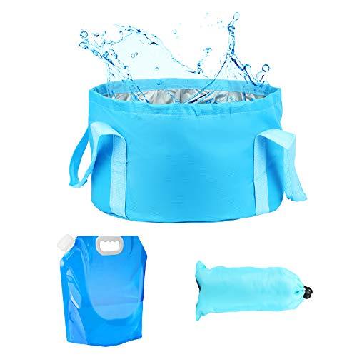 LAITER 1 Cubo Plegable + 1 Bolsa de Agua Plegable Portátil Impermeable Multifuncional para(Camping/Playa/Viaje/Pesca/Cocina/Jardinería/Baño de pies/Actividad al Aire Libre