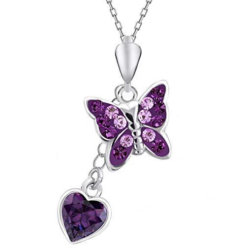 Für Dich Halskette Amethyst Schmetterling Herz Zirkonia aus echtem 925 Silber Mädchen Kette (Amethyst)