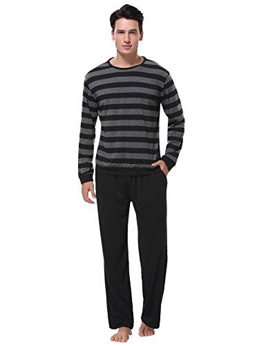 Aibrou Herren Schlafanzug Pyjama Baumwolle Lang Zweiteilig Nachtwäsche Set Langarm Rundhals Schwarz XL