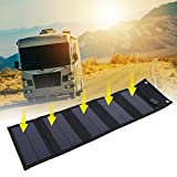 wosume Cargador Solar portátil, 20W Panel Solar Plegable a Prueba de Agua Cargador de energía Solar Batería de teléfono Banco de energía Salida USB para montañismo, Camping y Aire Libre
