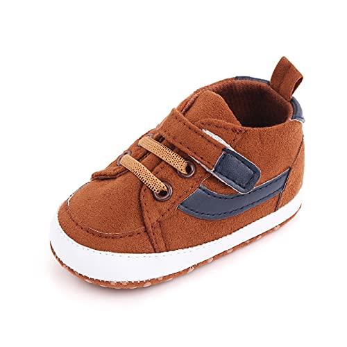 FURONGWANG6777BB Baby Boys Girls First Walking Skillas Antideslizantes Banco Antideslizante Prewalker Zapatillas de Deporte (Color : Brown, Size : 12-18 Months)