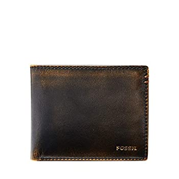 Fossil Men s Wade Leather Bifold with Flip ID Wallet Black