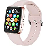 Amzpas - Correa de repuesto compatible con Apple Watch, 38 mm, 42 mm, 40 mm, 44 mm, silicona suave, deportiva, compatible con iWatch Series 5 4 3 2 1, 07 rosa., 38mm/40mm S/M
