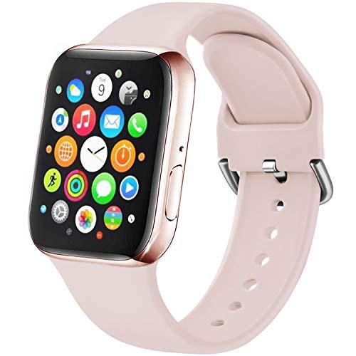 Amzpas Cinturino Compatibile per Apple Watch 38mm 40mm 42mm 44mm, Nuovo Cinturino in Silicone di Sportivo Morbido per iWatch Series 6,5,4,3,2,1,SE (42/44mm S/M, 06Rosa)