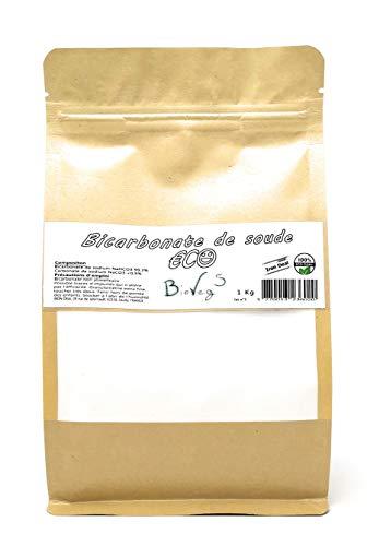 BioVeg5 | Bicarbonate de Soude 1kg | ECO | Extra Fin 100 µm | Sachet Kraft Zip Refermable