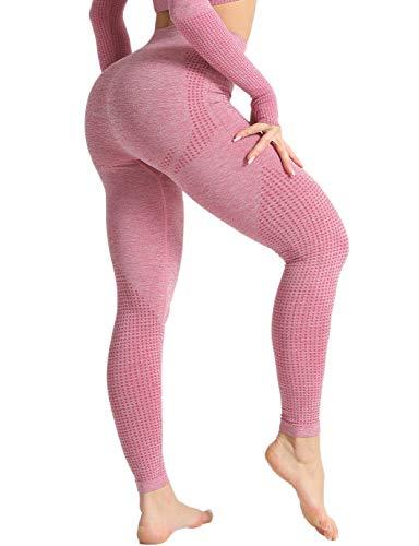 SHAPERIN Mallas deportivas de compresión para mujer, de cintura alta, opacas, anticelulitis, push-up, para correr, fitness, yoga, entrenamiento, gimnasio #9rosa leggings S