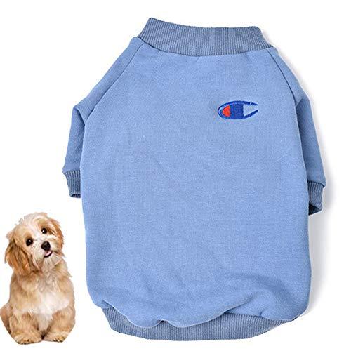 IMSPLULE Perro pulóver Sudadera Otoño Invierno frío Perro del Tiempo Camisetas para Pequeña Mediana Grande Tamaño Perros Schnauzer Miniatura Ropa (S-XXL) Blue