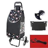 Carro de compras plegable, mini carretilla ligera para escaladores de escaleras de 150 libras de capacidad de extracción de comestibles con ruedas y bolsa de compras (negro)