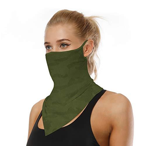 LOLONG Face Bandana Ear Loops Stylish Men Women Neck Gaiters for Dust Wind Motorcycle Green