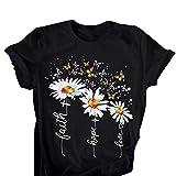 Camisetas con Estampado Floral de Verano para Mujer Camisetas con Estampado de Margaritas y Mariposas Divertidas Camisetas con Ajuste Suave y Regular