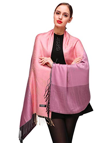 Shmily Girl Shmily Girl Damen Schultertuch Stola - Eleganter Pashmina Schal mit floralem Muster in vielen Farben (One Size, Pink-c108)