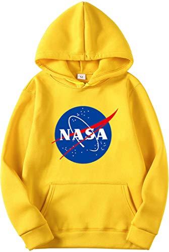 OLIPHEE Felpe con Cappuccio Tinta Unitta Stampa con NASA Maglione Semplice per Ragazze e Donna A-Huang-1 S