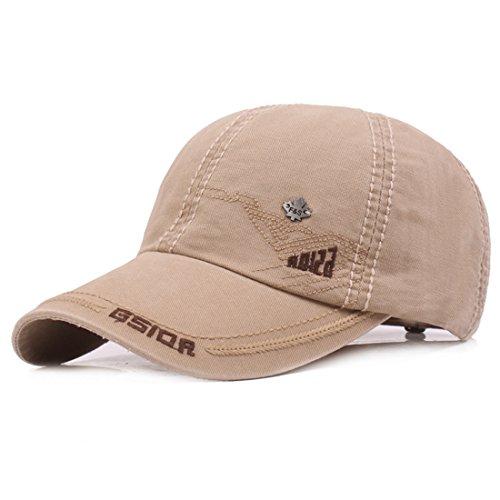 Kuyou Vintage Cotton Basecap Snapback Caps Outdoor Baseball Kappe Mütze (Beige)