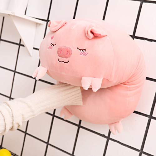 AIXINI 23.6 inch Cute Pink Pig Plush Stuffed Animal Cylindrical Body Pillow,Super Soft Cartoon Hugging Toy Gifts for Kids Sleeping Kawaii Pillow