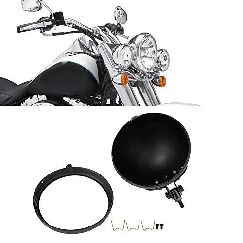 Scheinwerferabdeckung 7-Zoll-Motorradscheinwerferschutz Motorradmodifikation Scheinwerfer-Gehäusehalterung(Schwarz)