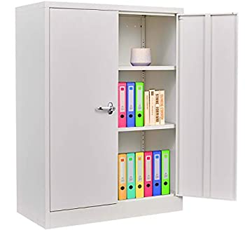 Steel Storage Cabinet with Doors Lockable Metal Cabinet with 2 Adjustable Shelves Great for Garage Kitchen Pantry Office Patio and Laundry Room