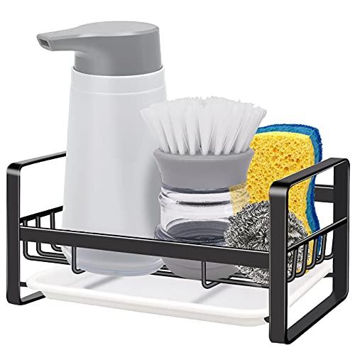 Kitchen Sink Caddy Sponge Holder - VANTEN Sink Caddy Organizer, Sponge Holder for Sink, Sink Tray Drainer Rack, Soap Dish Dispenser Brush Holder Storage Kitchen Accessories -Countertop or Adhesive