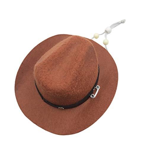 Balacoo Haustier Hund Cowboy Hut Western Cap Party Hut Kopfschmuck Cowboy Kostüm Zubehör für Hund Katze (Kaffee)