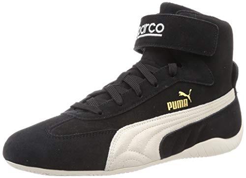 PUMA Speedcat Mid Sparco, Sneaker Unisex-Adulto, Nero Black-Whisper White Team Gold, 42.5 EU