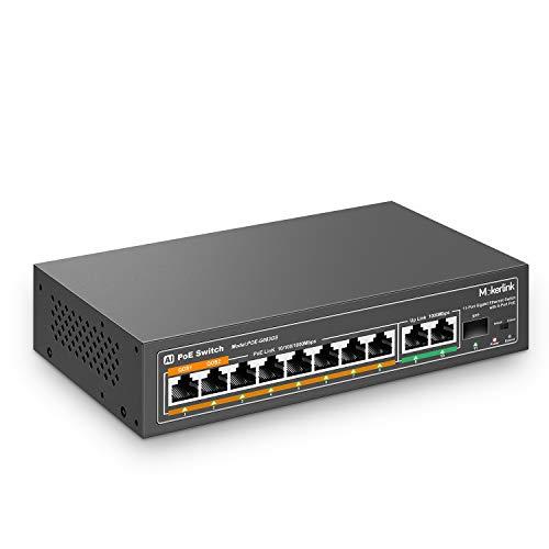 MokerLink 11 Port Gigabit PoE Switch with 8 PoE+ Port, 2 Gigabit Uplink, 1 SFP Port, 120W AI Detection, Qos, Fanless Metal Plug & Play Network Switch