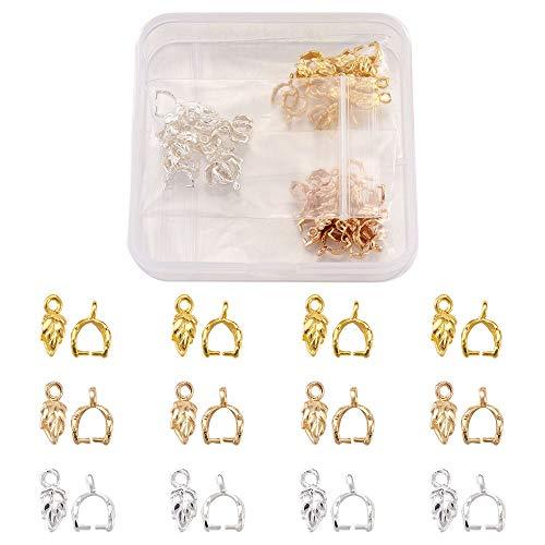 Fashewelry 60 unidades por caja de clip en forma de hoja de latón de 3 colores para collarines, joyas, manualidades, 9,5 x 3,5 mm