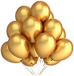Pack of 50 Professional Party Balloons Helium quality- 10 Round (10R) - metallic gold
