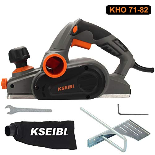 KSEIBI 6-Amp 3-1/4-Inch Electric Wood Planer 16500RPM, with 5/64 inch Adjustable Cut Depth, Left Right Hand Operation, Parallel Fence Bracket Woodwork Plane (KHO 71-82)