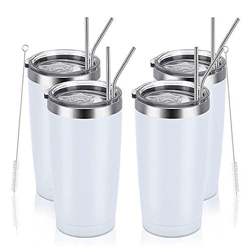Camisin 4 paquetes de taza de viaje de 20 oz taza de acero con tapa con pajita, taza de bebida caliente y fría aislada al vacío