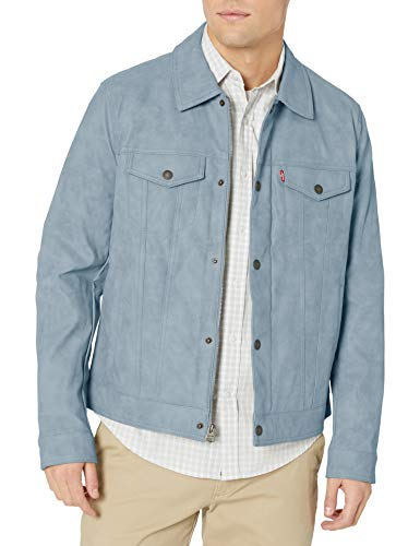 Levi's Men's Faux Leather Classic Trucker Jacket, Light Blue, X-Large