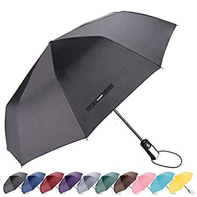 "TradMall Travel Umbrella Windproof with 10 Reinforced Fiberglass Ribs 42"" Large Canopy Ergonomic Handle Auto Open & Close, Black"