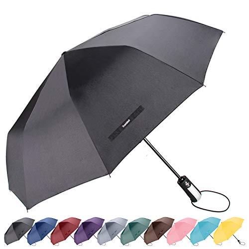"TradMall Travel Umbrella Windproof with 10 Reinforced Fiberglass Ribs 42"" Large Canopy Ergonomic Handle Auto Open & Close, Black"