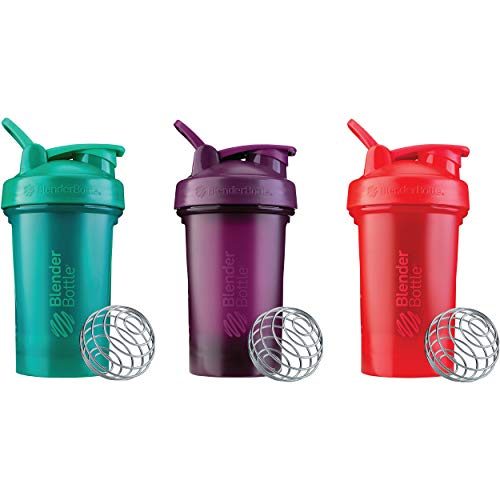 BlenderBottle Classic V2 Shaker Bottle Perfect for Protein Shakes and Pre Workout, 20-Ounce (3 Pack), Red, Green, Plum