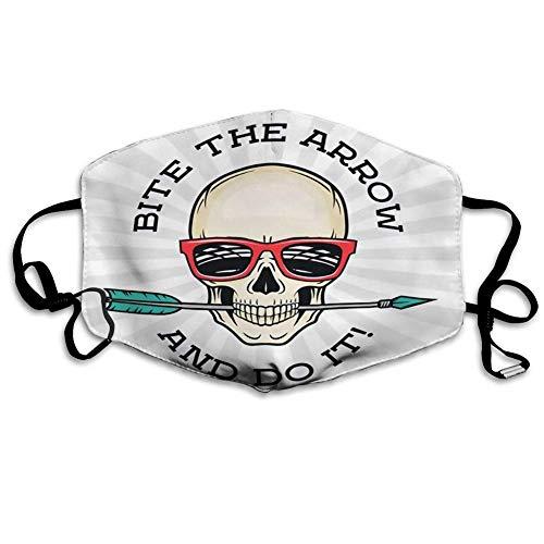 Mondmasker gezichtsbedekking Hipster Skull met geek zonnebril en pijlbeet The Idiom Cool motivatie van de