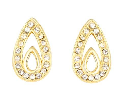 Oro plateado Touchstone moderno y elegante pendiente para las mujeres