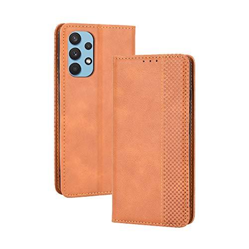 Dedux Flip Hülle kompatibel mit Samsung Galaxy A32 4G, Retro Leder Brieftasche Abdeckung Magnetverschluss Folio Ständer Kartensteckplätze Handyhülle, Braun
