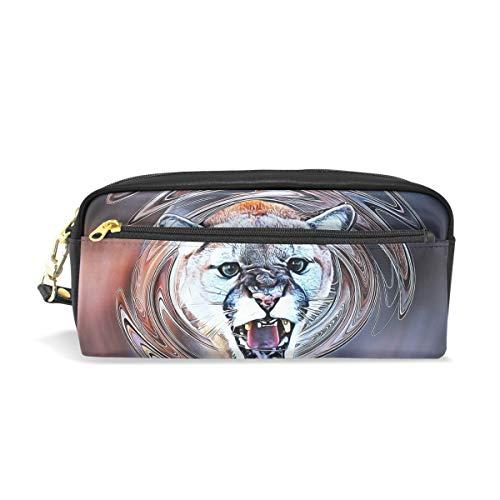 Eslifey Cougar Animal Tragbare Tasche PU Leder Schule Stifteetui Schreibwaren Bleistifttasche für Kinder Wasserdicht Kosmetik Tasche Make-up Beauty Case