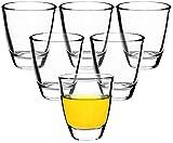 Premium Schnapsgläser Shotgläser 6-teiliges Set Glas - max. 5cl (50ml) - Standfest - Spülmaschinenfest - Pinnchen Wodka Ouzo Vodka Tequila Whiskey Stamper