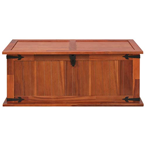Festnight Aufbewahrungstruhe aus Akazienholz 90 x 45 x 40 cm   Aufbewahrungsbox Holztruhe Auflagenbox Kissenbox Braun - 4