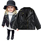 Toddler Baby Boy Girl Cute Motorcycle Faux Leather Jackets, Autumn Winter Long Sleeve Zipper Splicing Outerwear Leather Coat (Black, 12-18 Months)