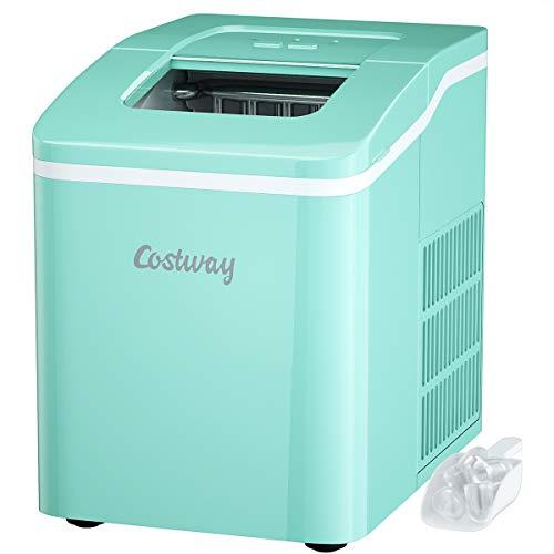 COSTWAY Eiswürfelmaschine Ice Maker, Eismaschine, Eiswürfelbereiter inkl. Eiswürfelschaufel / 9 Eiswürfel in 8 min / 12kg in 24 Std. / 1,6L Wassertank / 31x22x30 cm (Grün)